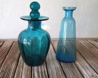 Pair of Vintage Turquoise Bottles