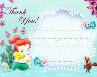The Little Mermaid Fill-In Thank You Card - INSTANT DOWNLOAD - Disney Baby Princess Ariel - The Little Mermaid - Princess baby shower