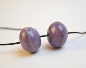 Hollow lampwork glass beads for jewelry making purple lampwork beads earring pair sra lampwork beads