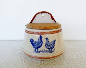 Stoneware Salt Crock with Chickens Wood Lid Wall Mount