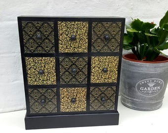 Black and Gold Damask Wooden Mini Chest of Drawers Jewellery Box Trinket Box Craft Storage Gift for Her