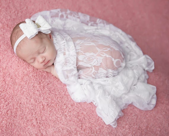 White Stretch Lace Swaddle AND/OR Lace Bow Headband, newborn photos, birthday, Christening, Lil Miss Sweet Pea