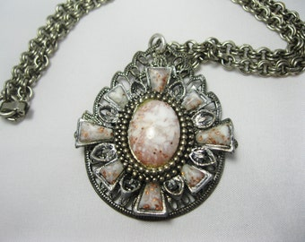 Vintage Retro Necklace - Pink Lucite Embellishments - Silver-tone - Refurbished