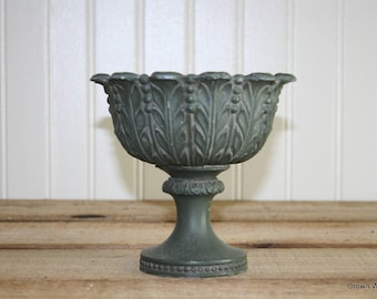 Numbered Metal Vase - Vintage - Green - 467 - Home Decor - Patina - Container