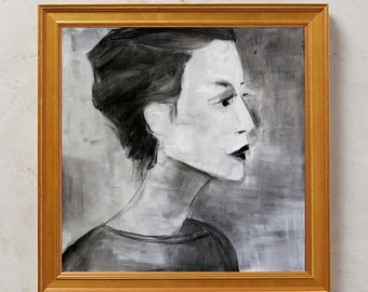 Minimalist Woman Modern Portrait - SALE - Contemporary Fine Art -- Acrylics and charcoal on paper