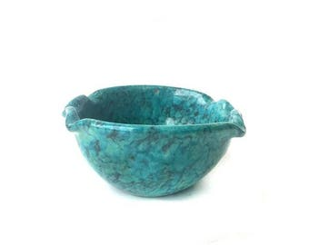 Mid Century Italian Ceramic Turquoise Catch All Dish | Teal Italian Pottery