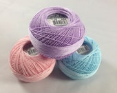 Lizbeth Tatting Thread - Size 20 - Made by Handy Hands - Pink/Purple/Blue Pastel 3 Pack - Colors 646, 619 and 710 - Your Choice of Amount