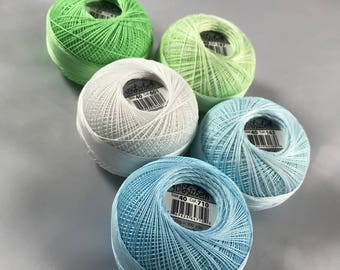 Lizbeth Tatting Thread -  Size 40 - 5 Pack Ice Mix  (163, 187, 601, 677 and 710) - Your Choice of Total Amount
