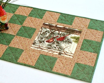 Quilted Christmas Table Runner, Cardinals, Green Brown, Winter Table Topper, Pine Cones Sprigs, Quiltsy Handmade