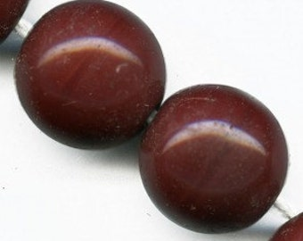 Vintage glass BEADS GERMANY rust opaque 15mm