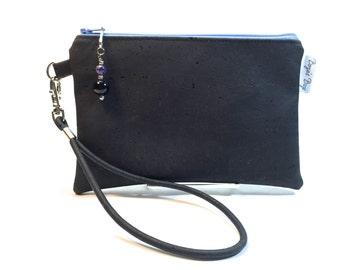 Cork wristlet, Black wristlet, vegan purse, tan wristlet, black cork fabric bag, cork fabric purse, vegan leather bag, eco friendly bag