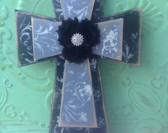 Shabby Chic Gray and Black Cross, Stacked Wooden Cross, Home Decor Stacked Cross, Wood Wall Cross