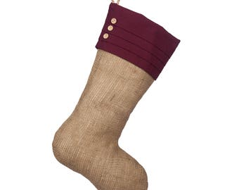 Christmas Stocking with Burgundy Cuff - Burlap Christmas - Single Stocking (1)