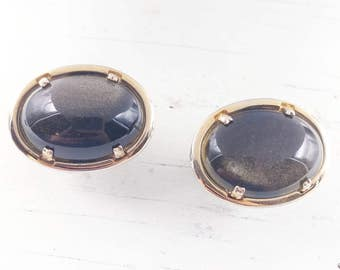 Large Iridescent Black Cufflinks Men's Jewelry Gifts Accessories