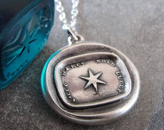 Star Wax Seal Necklace - Guiding Light Protection Symbol antique wax seal charm jewelry  - Polaris Latin motto jewelry by RQP Studio