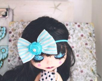 Blythe bow headband. Fashion Headbands, Blue Headbands, Prop, Photographer. Blythe clothes. Shabby chic bow, turquoise bow