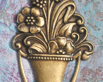 Art Nouveau flower basket brass stamping, Brass Ox
