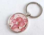 30%OFF Keychain Japanese Washi Chiyogami paper charm Floral Keyring key holder CHERRY BLOSSOM pattern with gift envelope