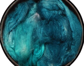 Hand painted Silk Hankies - Silk spinning / knitting / felting fiber, 10 g - Minkowski Nebula