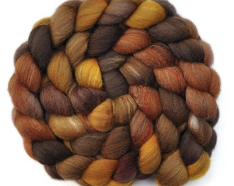 Hand dyed roving - Silk / Polwarth 40/60% wool roving - 4.1 ounces - Petrified Wood 1