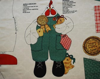 Fabric Craft Panel HENRY THE CHICKEN Chicks Overalls Country Crafting Sewing Kit