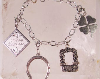 925 Sterling Silver Charm Bracelet with 4 Sterling Charms