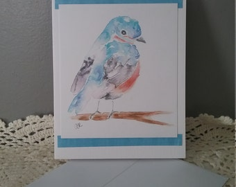 Watercolor Greeting Card Blue Bird All Occasion Blank Card
