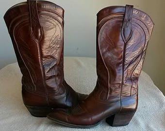 Women's Dan Post Cowboy Western Boots Dark Brown All Leather Shoes Size 7.5C SPAIN