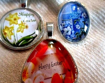 Happy Easter Pendant or Scarf Slide, scarf jewelry, scarf ring - one item