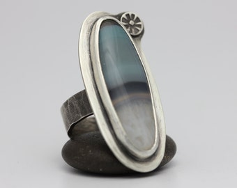 Stained Brazilian Blue Agate Ring, Agate & Sterling Ring, Boho Statement Ring, Size 9.75