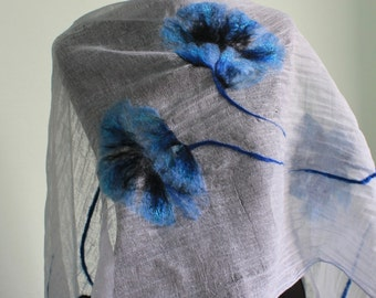 Poppies - Scarf with felted flowers / art / dress / flower