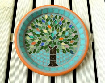 Summer Jewel Tree Mosaic Garden Yard Bird Bath Ornament Decoration