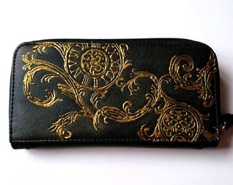 Tale as old as time handpainted wallet purse - gold vintage effect clock design