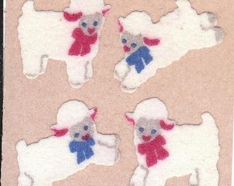 ON SALE Vintage Sandylion Fuzzy Lamb Sticker Mod on Brown Backing - Sheep Bows Scrapbook Collage