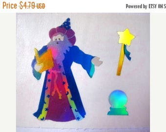 SALE Wizard Mrs Grossman Silver Reflective Mylar Rare Vintage Sticker - 80's Clairvoyant Sorcerer Crystal Ball Oracle Mystic Magician