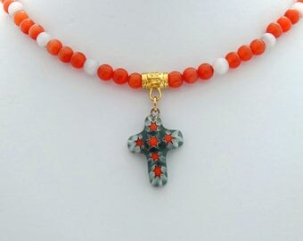 Glass Cross Cats Eye Orange Grey Bead Designer Necklace
