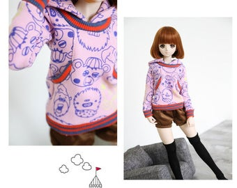 SAYOKO outfit for LUTS dollfie 1/4 BJD Doll - Hooded tops - Pink (No.A676)