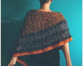 Crochet Poncho,Knit Poncho,Handmade Pullover,Shawl,Wrap,Cape,Capelet,Chunky Knit,Asymmetrical,Gypsy Clothing,Hippie Clothes,Orange,Grey