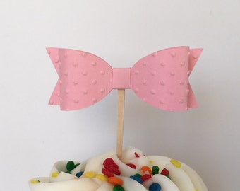 Set of 12 Cupcake Toppers 3D Bows  Pink