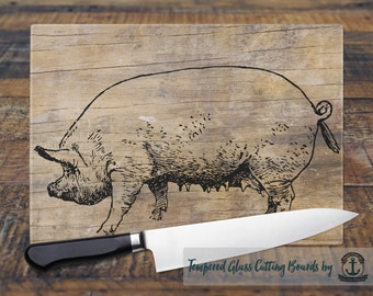 Glass Cutting Board - Pig | Farmhouse Chic | Small or Large Kitchen Art for Your Countertop
