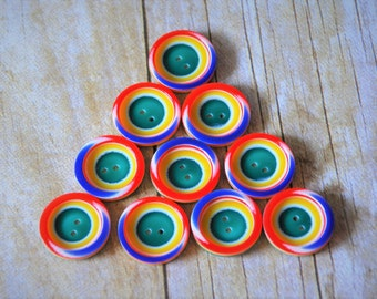 Rainbow Buttons Lot of 10