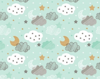Starry Night Blue from Blend Fabric's Sweet Dreams Collection by Maude Asbury - 100% Cotton