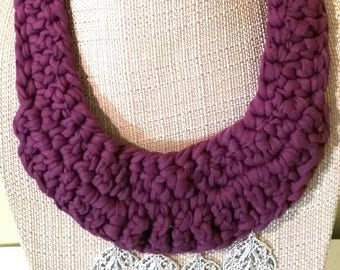 Purple Necklace, Crochet Statement Necklace, T-shirt Yarn Necklace, Bib Necklace, Pendant Necklace, Gift for Her