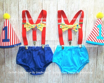 Circus Birthday outfit cake smash carnival royal blue or turquoise diaper cover costume hat bow tie ring master suspenders 12 18 24 toddler