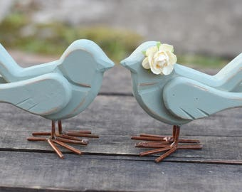 Love Bird Cake Toppers Cottage Rustic Shabby Chic Weddings Custom Color