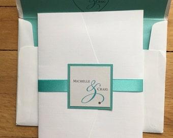 Michelle & Craig// 5x7 Pocket Wedding Invitation