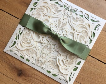 The Love Lace// Green and Ivory Wedding Invitation