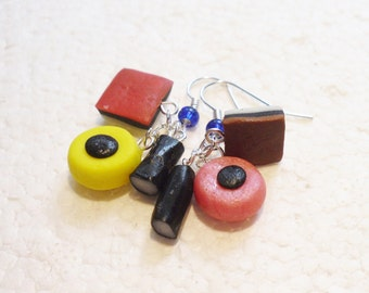 Licorice Allsorts Earrings. Polymer Clay.