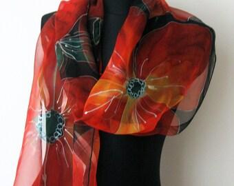 Red Poppies. Chiffon silk scarf. Original Hand Painted Silk Scarf for Ladies. Red, Black Art to Wear. Estonia