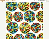 ON SALE Robert Kaufman fabric for quilt or craft Modern by Robin Zingone Flower Circles in Citrus Fat Quarter